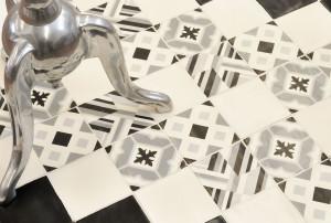 Carreaux ciment façon artisanale pour revêtement de sols et murs en format 12x12 de la série Madelaine