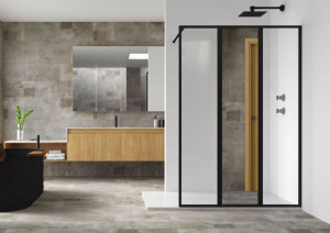 Paroi de douche fixe style industriel avec miroir intégré de la série Nordic